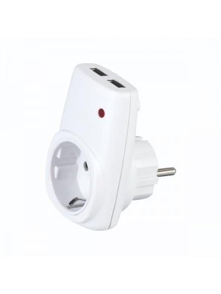 Розетка с заземлением + USB AXIS 113-001-0001 Horoz