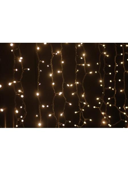 Гирлянда уличная LUMION штора 288LED 1,5x1m 230V цвет белый теплый/черный IP44 EN