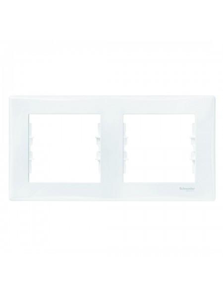 Рамка 2 постовая горизонтальная  Sedna SDN5800321 белый (SDN5800321) Розетки и выключатели - интернет - магазин Моя Лампа ™
