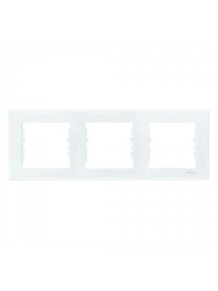 Рамка 3 постовая горизонтальная  Sedna SDN5800521 белый (SDN5800521) Розетки и выключатели - интернет - магазин Моя Лампа ™
