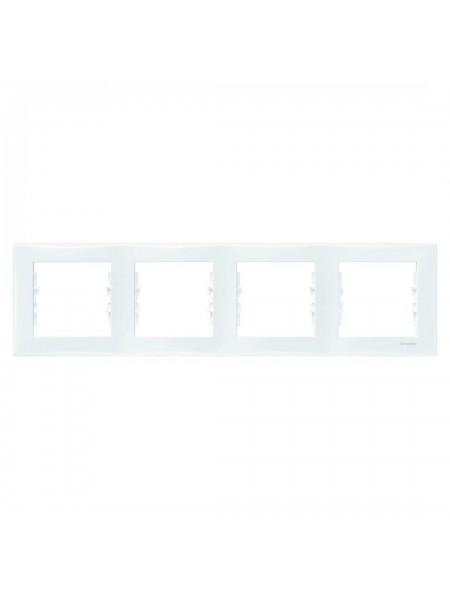 Рамка 4 постовая горизонтальная  Sedna SDN5800721 белый (SDN5800721) Розетки и выключатели - интернет - магазин Моя Лампа ™