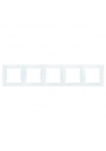 Рамка 5 постовая горизонтальная  Sedna SDN5800921 белый (SDN5800921) Розетки и выключатели - интернет - магазин Моя Лампа ™