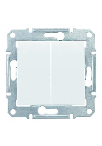 Двухклавишный переключатель 10 AX  Sedna SDN0600121 белый (SDN0600121) Розетки и выключатели - интернет - магазин Моя Лампа ™