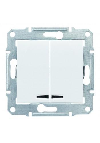Двухклавишный выключатель с подсветкой (синяяя) 10 A  Sedna SDN0300321 белый (SDN0300321) Розетки и выключатели - интернет - магазин Моя Лампа ™