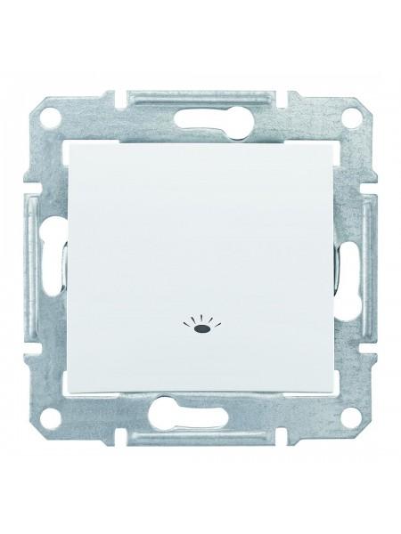 Одноклавишный кнопочный выключатель с символом «свет» 10 A  Sedna SDN0900121 белый (SDN0900121) Розетки и выключатели - интернет - магазин Моя Лампа ™