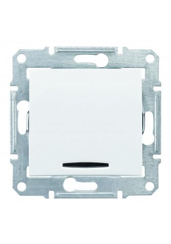 Одноклавишный кнопочный выключатель с подсветкой (синяяя) 10 A  Sedna SDN1600121 белый (SDN1600121) Розетки и выключатели - интернет - магазин Моя Лампа ™