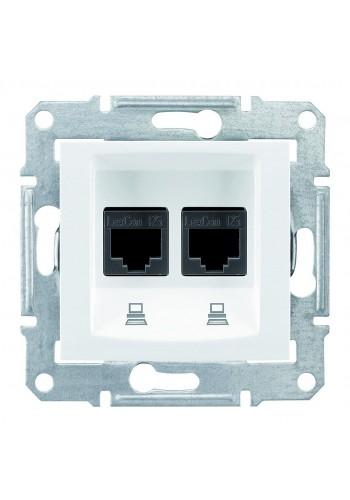 Компьютерная розетка двойная RJ45, кат. 5e, экр. STP, с пружинными зажимами  Sedna SDN4600121 белый (SDN4600121) Розетки и выключатели - интернет - магазин Моя Лампа ™