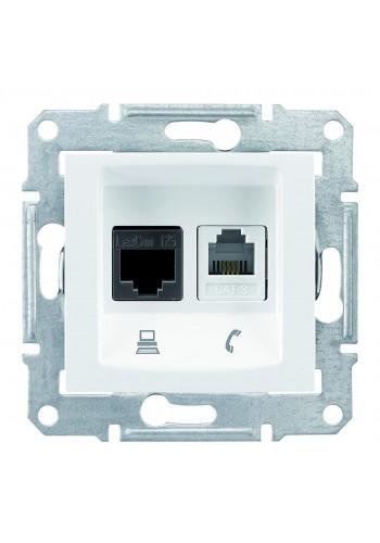Телефонная розетка RJ11 + Компьютерная розетка RJ45, кат. 6, неэкр. UTP с пружинными зажимами  Sedna SDN5200121 белый (SDN5200121) Розетки и выключатели - интернет - магазин Моя Лампа ™