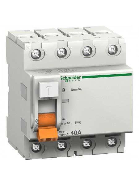 Диференціальний вимикач (ПЗВ) 4P 40A 30mA SE Домовик ВД63 11463