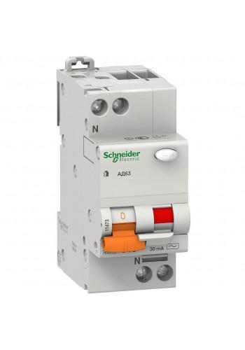Дифференциальный автоматический выключатель 1P+N 25А (C) 30mA SE Домовой АД63 11474