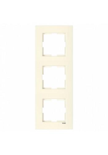 VI KO KARRE КРЕМ Рамка 3-я вертикальная 90960232 (90960232) Розетки и выключатели - интернет - магазин Моя Лампа ™