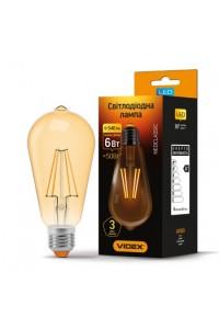 LED лампа VIDEX Fіlament ST64FA 6W E27 2200K 220V бронза (VL-ST64fа-06272) Світодіодні лампи - інтернет - магазині Моя Лампа ™