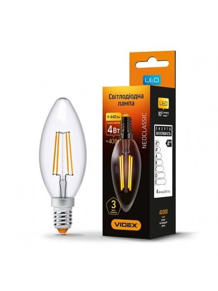 LED лампа VIDEX Fіlament С37F 4W E14 3000K 220V (VL-C37F-04143) Светодиодные лампы - интернет - магазин Моя Лампа ™