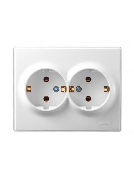 Розетка подвійна з/з LEZARD LESYA 705-0202-127 білий з білою вставкою (705-0202-127) Розетки і вимикачі - інтернет - магазині Моя Лампа ™
