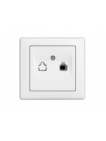 розетка WEGA 9034 телефонна біла - (10040353) (10040353) Товари зняті з виробництва - інтернет - магазині Моя Лампа ™