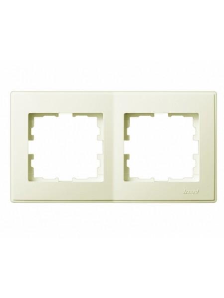 Рамка 2-ая горизонтальная б/вст LEZARD LESYA 705-0303-147 кремовый  с кремовой вставкой (705-0303-147) Розетки и выключатели - интернет - магазин Моя Лампа ™