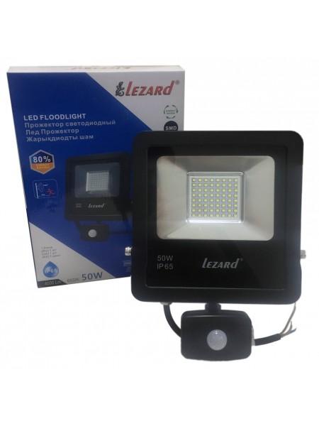 Лед Прожектор с датчиком движения 50Вт, Ал-вый корпус  IP65 6500K 4000Lm PAL6550S LEZARD (PAL6550S) LED Прожекторы - интернет - магазин Моя Лампа ™