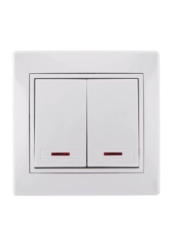 Выключатель двойной с подсветкой Mira701-0202-112 LEZARD белый (701-0202-112) Розетки и выключатели - интернет - магазин Моя Лампа ™