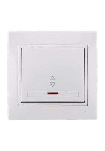 Выключатель проходной с подсветкой Mira701-0202-114 LEZARD белый (701-0202-114) Розетки и выключатели - интернет - магазин Моя Лампа ™