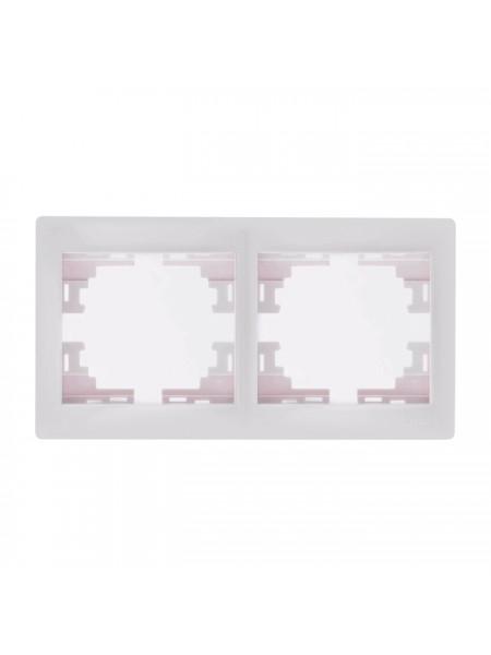 Рамка 2-ая горизонтальная б/вст Mira701-0200-147 LEZARD белый (701-0200-147) Розетки и выключатели - интернет - магазин Моя Лампа ™