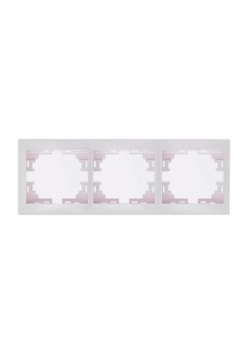 Рамка 3-ая горизонтальная б/вст Mira701-0200-148 LEZARD белый (701-0200-148) Розетки и выключатели - интернет - магазин Моя Лампа ™