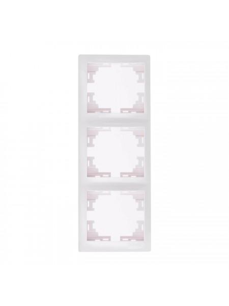 Рамка 3-ая вертикальная б/вст Mira701-0200-153 LEZARD белый (701-0200-153) Розетки и выключатели - интернет - магазин Моя Лампа ™