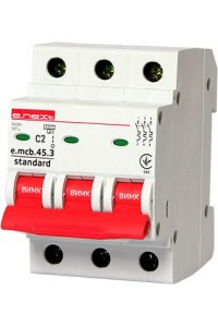 Модульный автоматический выключатель e.mcb.stand.45.3.C2, 3г, 2А, C, 4,5 кА (s002025) (s002025) Автоматические выключатели - интернет - магазин Моя Лампа ™