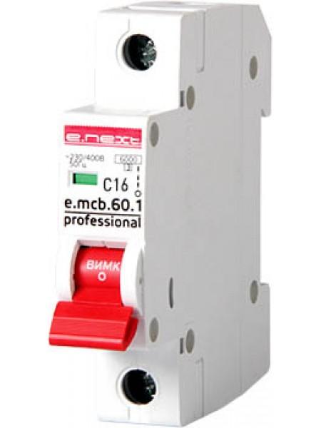 Модульный автоматический выключатель e.mcb.pro.60.1.C16 new, 1р, 16А, C, 6кА new (p042008)
