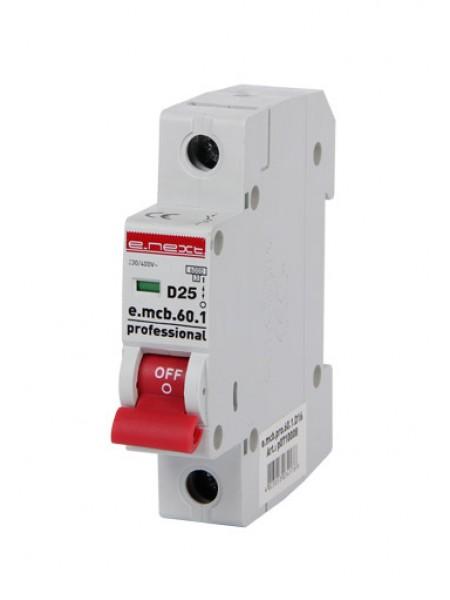 Модульный автоматический выключатель e.mcb.pro.60.1.D.25, 1р, 25А, D, 6кА (p0710009)