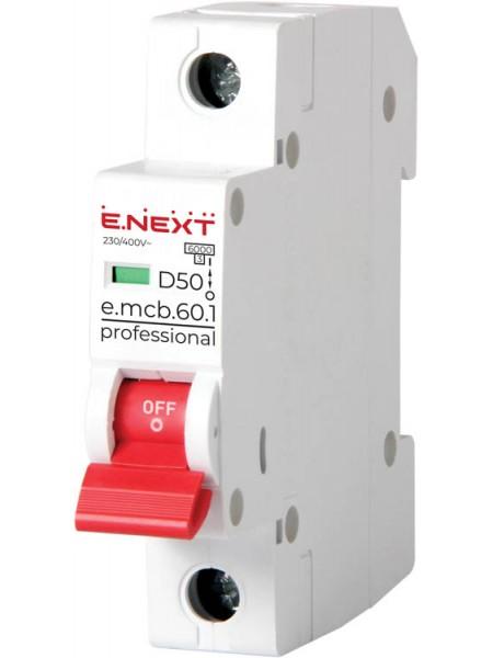 Модульний автоматичний вимикач e.mcb.pro.60.1.D.50 , 1р, 50А, D, 6кА(p0710022)