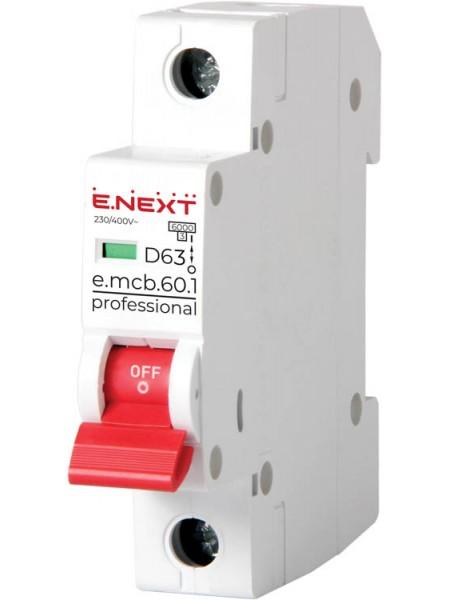 Модульний автоматичний вимикач e.mcb.pro.60.1.D.63 , 1р, 63А, D, 6кА(p0710023)