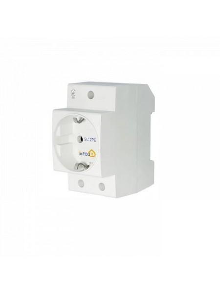 Розетка 1-на ж / с на DIN-рейку SC 2PЕ EcoHome (ECO080010002) Модульные устройства на Din-рейку - интернет - магазин Моя Лампа ™