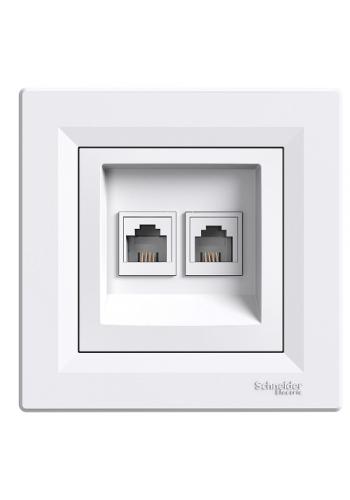 роз SCHNEIDER ASFORA EPH4200121 TF RJ11 2-я белая (EPH4200121) Розетки и выключатели - интернет - магазин Моя Лампа ™