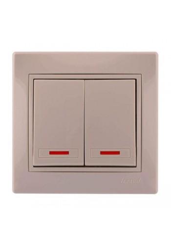 Выключатель двойной с подсветкой Mira701-0303-112 LEZARD кремовая (701-0303-112) Розетки и выключатели - интернет - магазин Моя Лампа ™