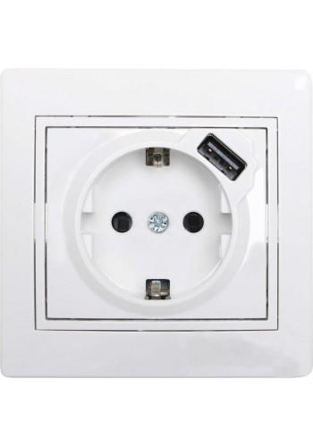 Розетка с/з + USB  Mira701-0202-181 LEZARD белый (701-0202-181) Розетки и выключатели - интернет - магазин Моя Лампа ™