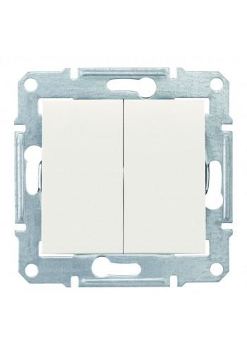 Двухклавишный выключатель 10 AX  Sedna SDN0300123 слоновая кость (SDN0300123) Розетки и выключатели - интернет - магазин Моя Лампа ™