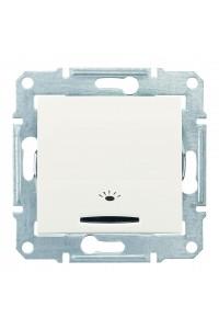 Одноклавишный кнопочный выключатель с символом «свет» и подсветкой (синяяя) 10 A Sedna SDN1800123 слоновая кость (SDN1800123) Розетки и выключатели - интернет - магазин Моя Лампа ™