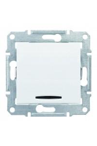 Двухполюсный одноклавишный выключатель с индикацией (красная) 10 A  Sedna SDN0201121 белый (SDN0201121) Розетки и выключатели - интернет - магазин Моя Лампа ™