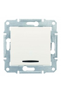Одноклавишный кнопочный выключатель с подсветкой (синяяя) 10 A  Sedna SDN1600123 слоновая кость (SDN1600123) Розетки и выключатели - интернет - магазин Моя Лампа ™