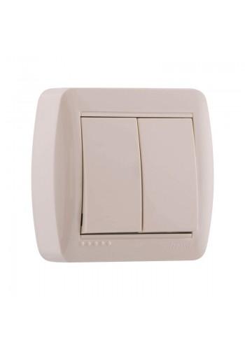 Выключатель наружный двойной крем Lezard Demet 711-0300-101 (711-0300-101) Розетки и выключатели - интернет - магазин Моя Лампа ™