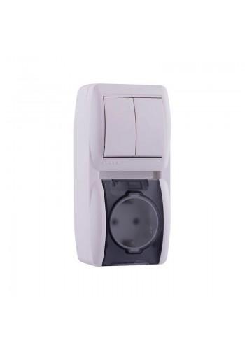 Выключатель 2-х клавишный и розетка с заземлением, с крышкой, белый, вертикаль Lezard Nata 710-0200-173 (710-0200-173) Розетки и выключатели - интернет - магазин Моя Лампа ™