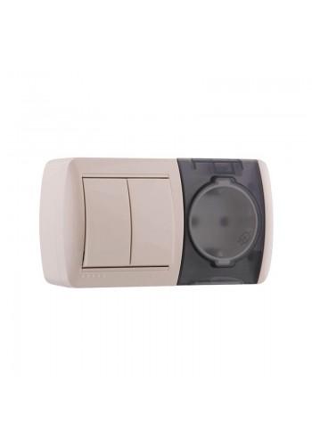 Выключатель 2-х клавишный и розетка с заземлением, с крышкой, крем, горизонталь Lezard Nata 710-0300-171 (710-0300-171) Розетки и выключатели - интернет - магазин Моя Лампа ™