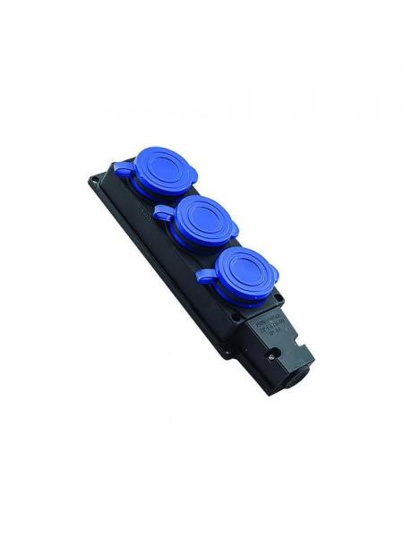 Розетка Violux каучук настенная 3-в с крышкой IP44 (930660) Патроны, вилки, тройники, каучук - интернет - магазин Моя Лампа ™