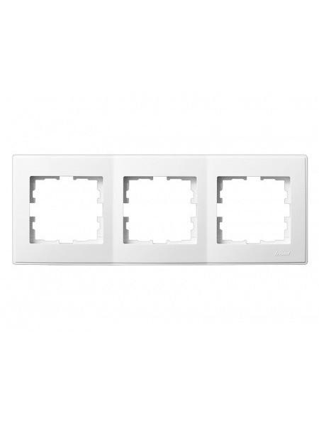 Рамка 3-а горизонтальна б/вст LEZARD LESYA 705-0202-148 білий з білою вставкою (705-0202-148) Розетки і вимикачі - інтернет - магазині Моя Лампа ™