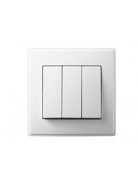 Выключатель тройной LEZARD LESYA 705-0202-109 белый с белой вставкой (705-0202-109) Розетки и выключатели - интернет - магазин Моя Лампа ™