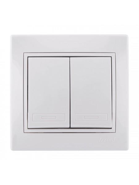 Выключатель двойной Mira701-0202-101 LEZARD белый (701-0202-101) Розетки и выключатели - интернет - магазин Моя Лампа ™