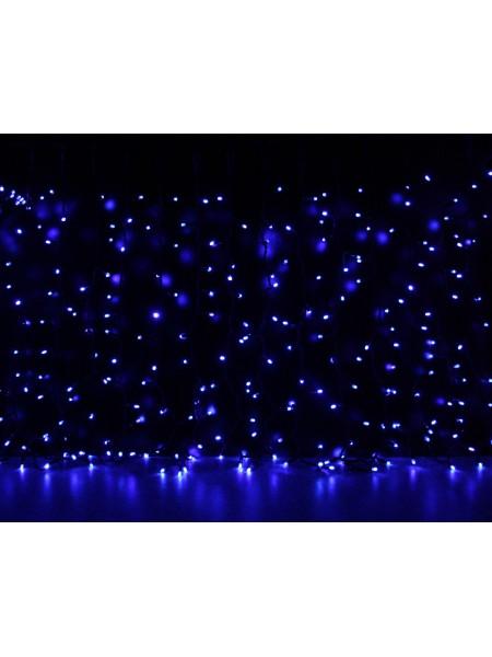 Curtain (штора) чорний кабель - 456 LED 2х1,5м - синій