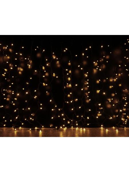Curtain (штора) чорний кабель - 912 LED 2х3м - теплий білий