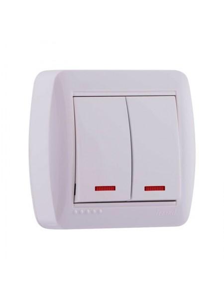 Выключатель наружный двойной с подсветкой белый Lezard Demet 711-0200-112 (711-0200-112) Розетки и выключатели - интернет - магазин Моя Лампа ™