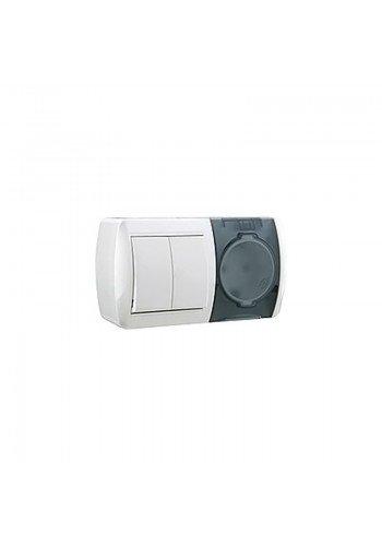 Выключатель 2-х клавишный и розетка с заземлением, с крышкой, белый, горизонталь Lezard Nata 710-0200-171 (710-0200-171) Розетки и выключатели - интернет - магазин Моя Лампа ™
